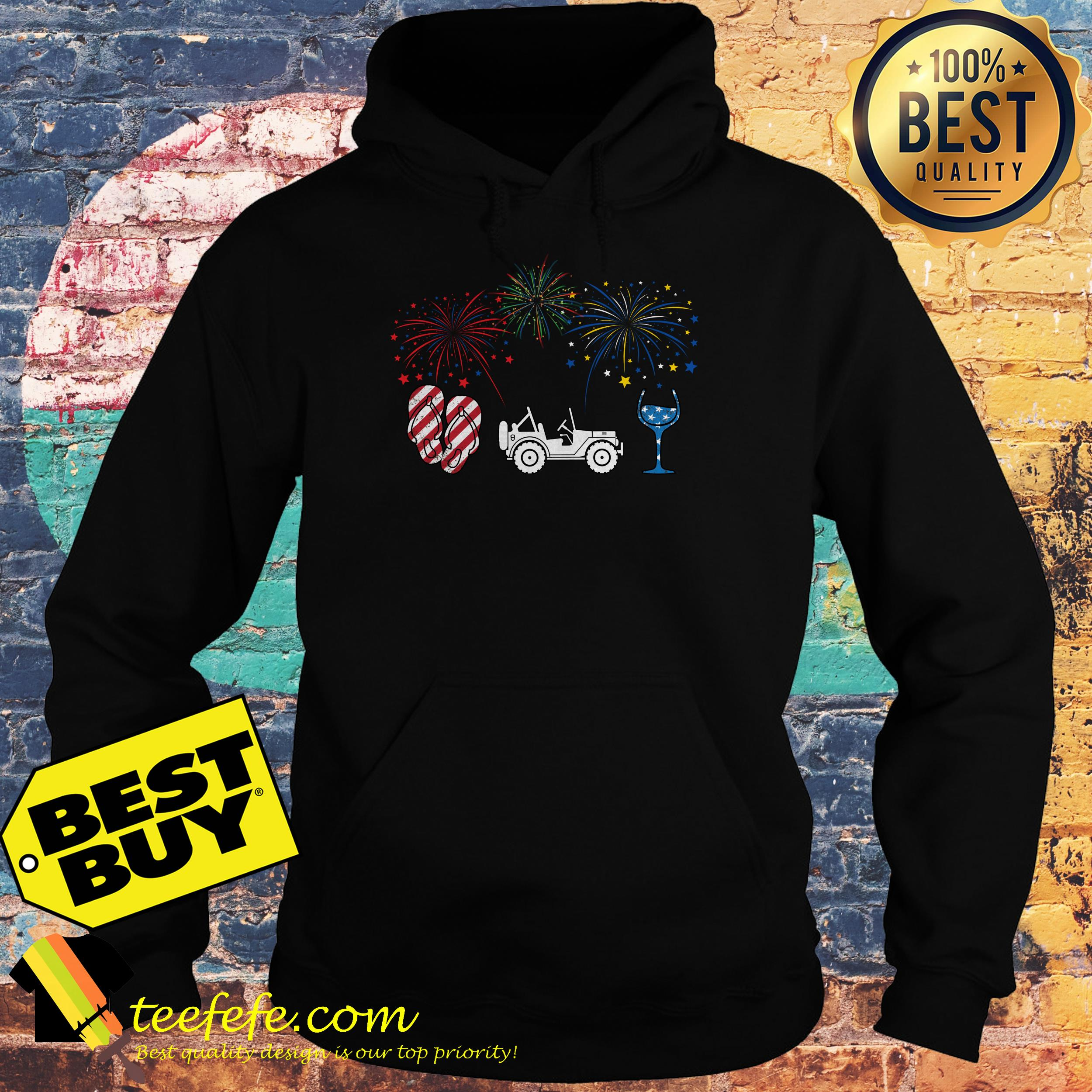 4th of July flip flops jeep and wine Firework hoodie