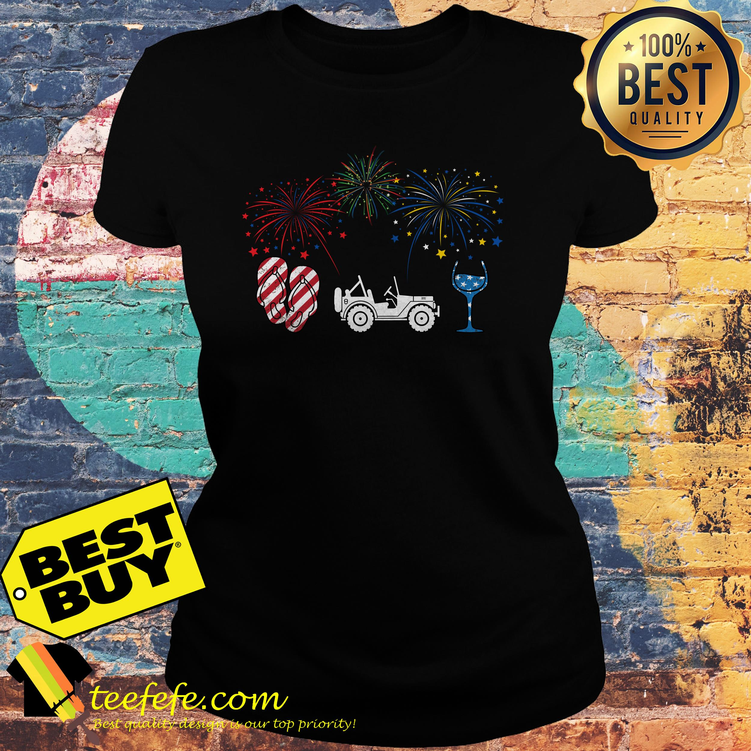 4th of July flip flops jeep and wine Firework ladies tee