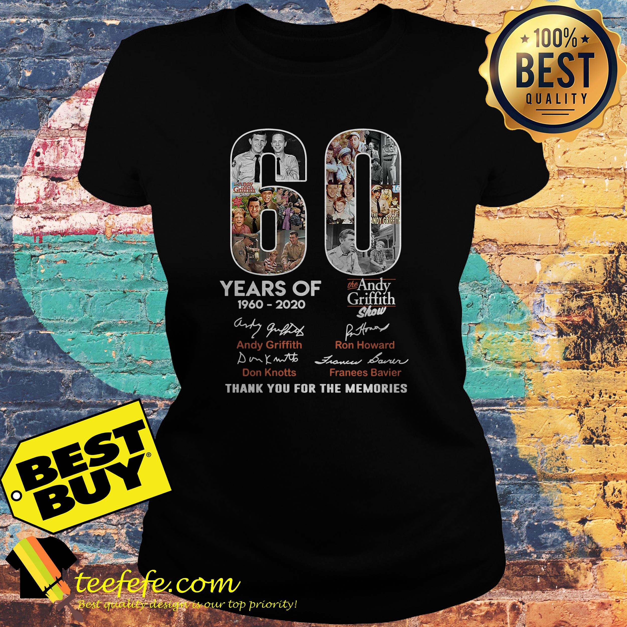 60 Years of the Andy Griffith Show 1960-2020 thank you for the memories ladies tee