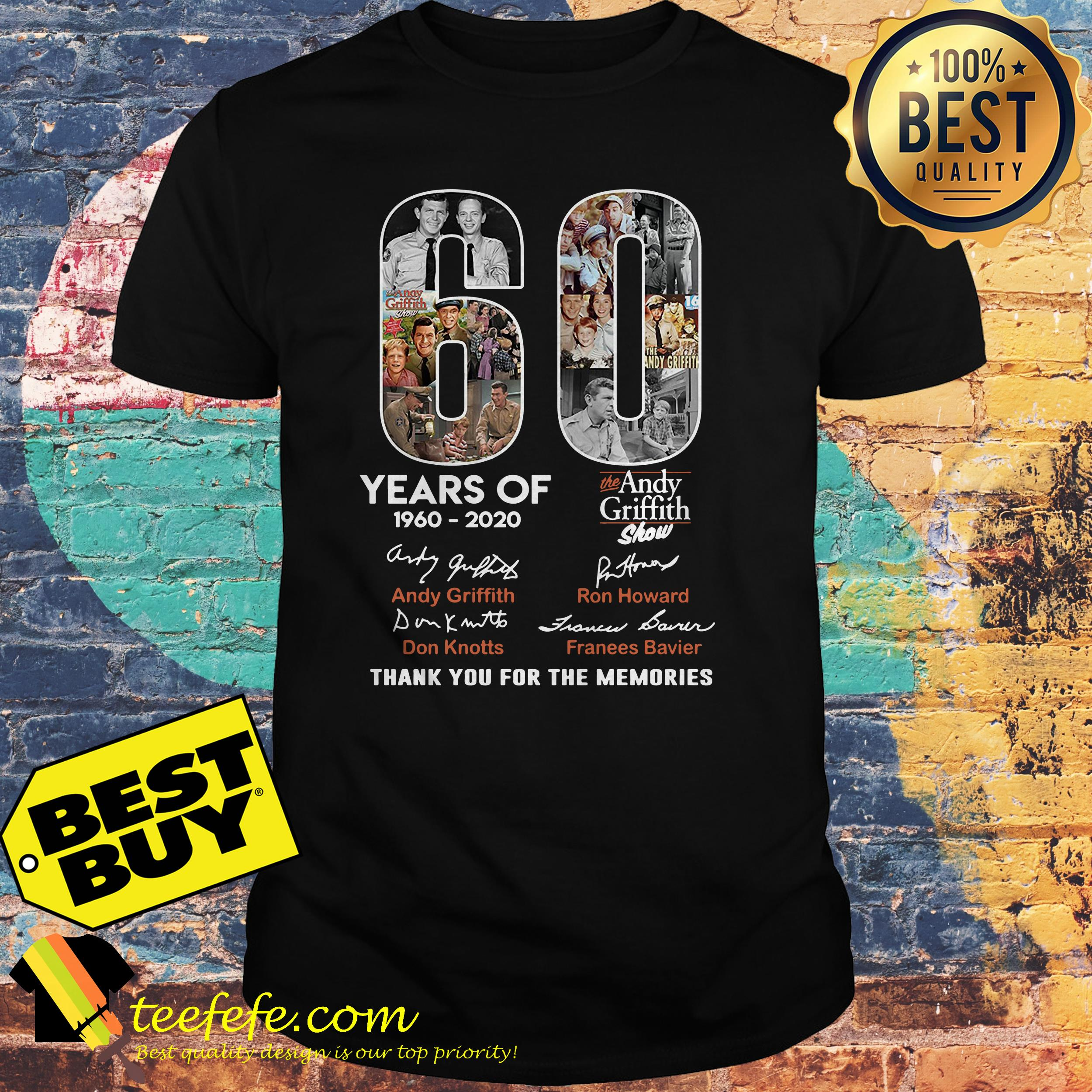 60 Years of the Andy Griffith Show 1960-2020 thank you for the memories shirt