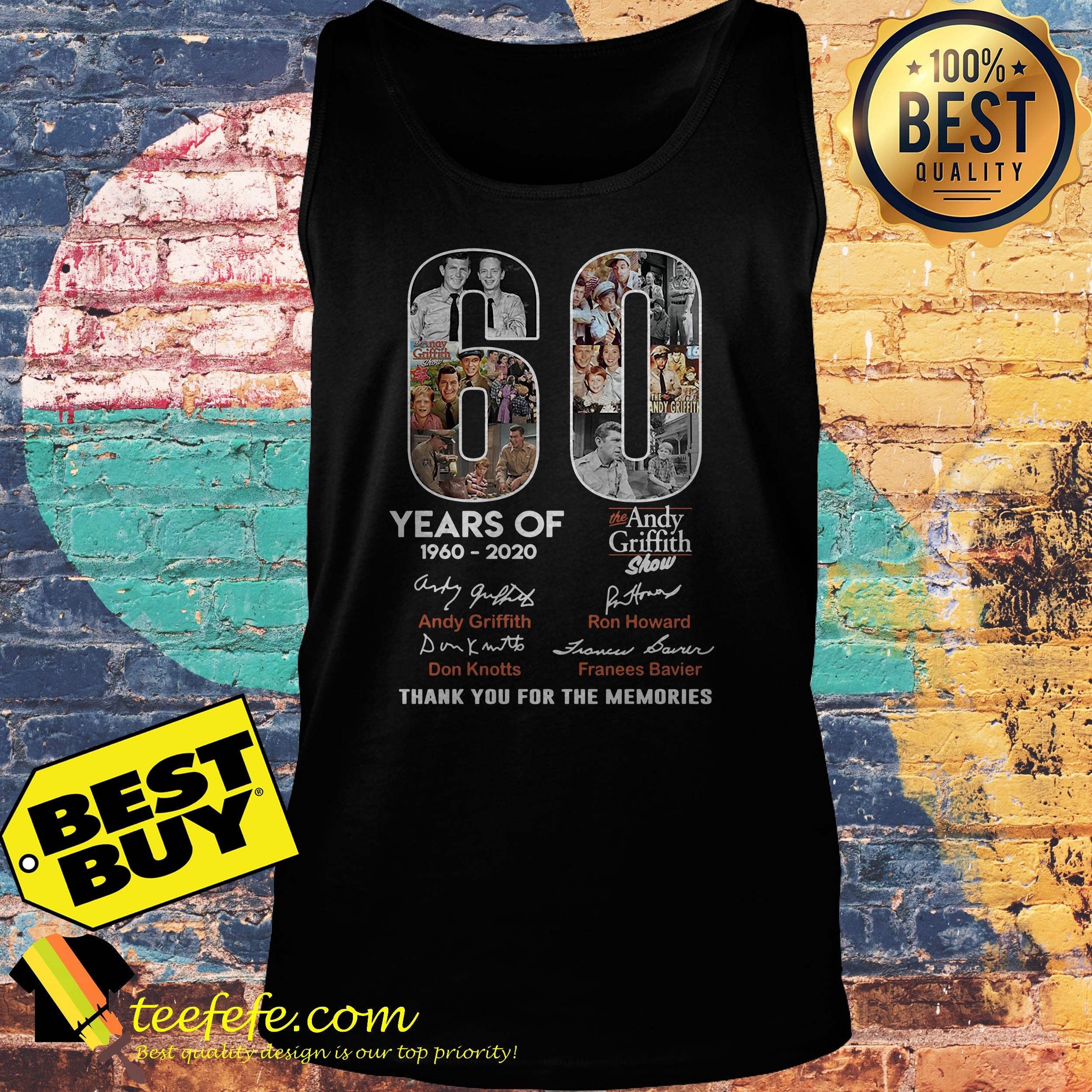 60 Years of the Andy Griffith Show 1960-2020 thank you for the memories tank top