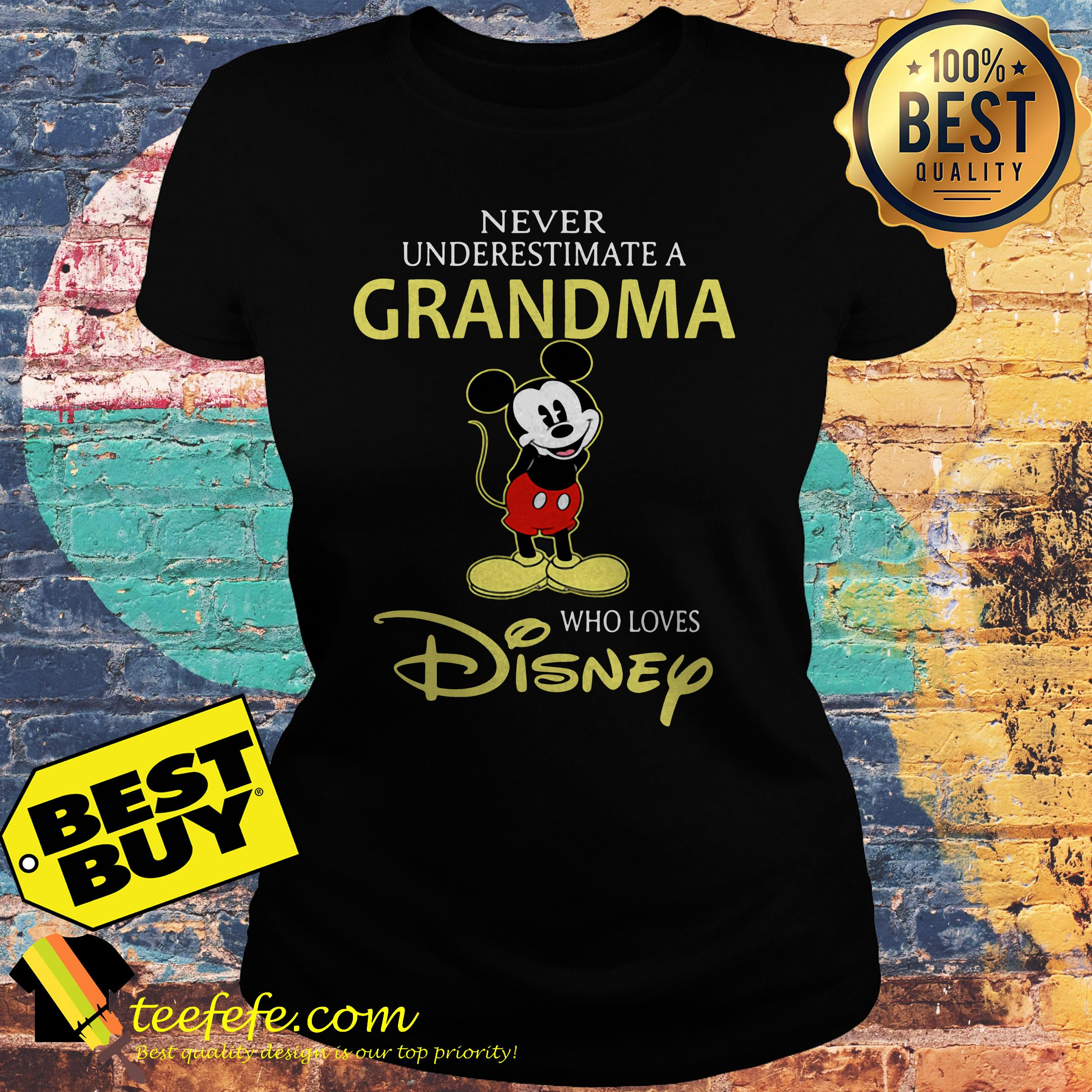 Mickey Mouse a grandma who loves Disney ladies tee