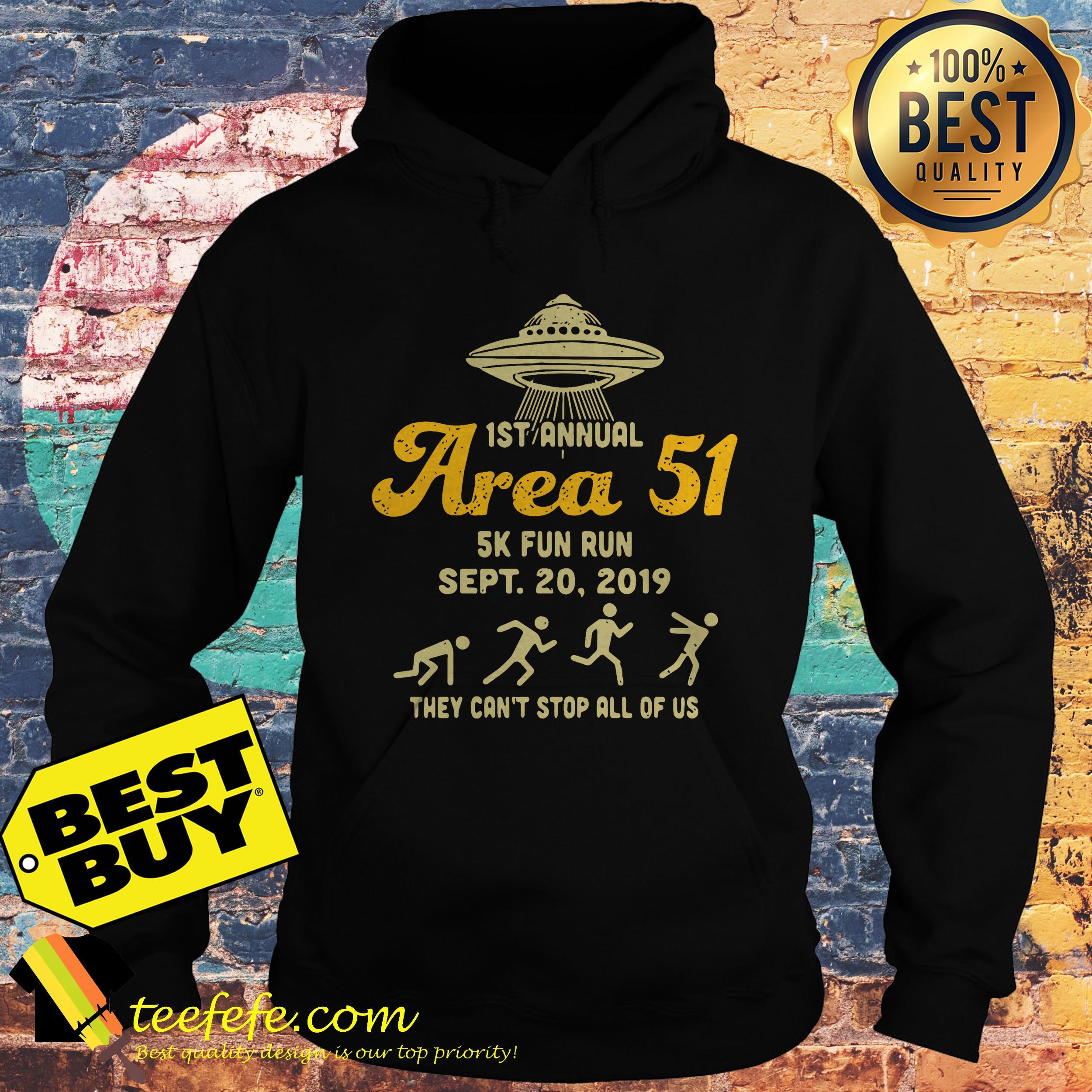 1St annual area 51 5k fun run UFOs hoodie