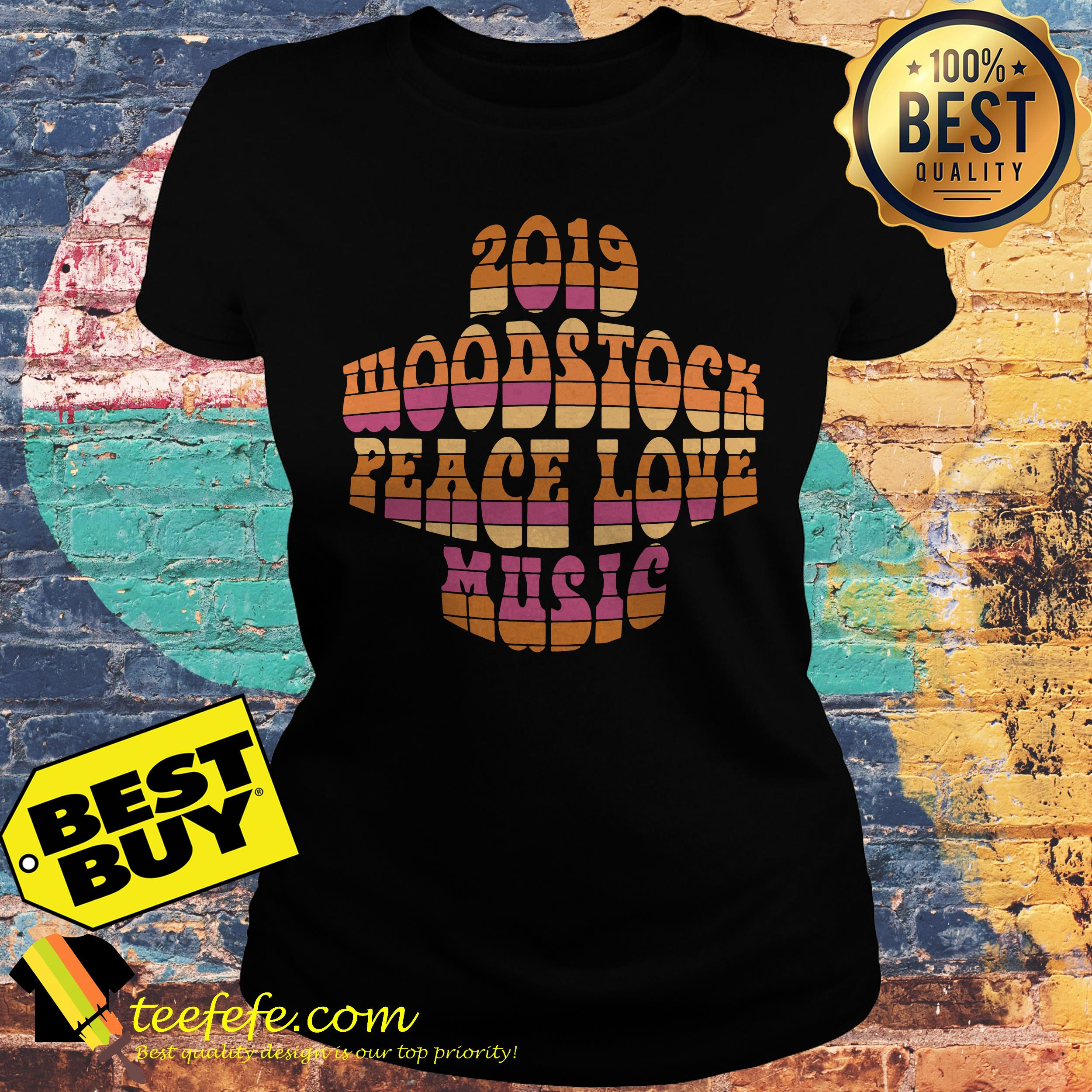 2019 Woodstock peace love music ladies tee