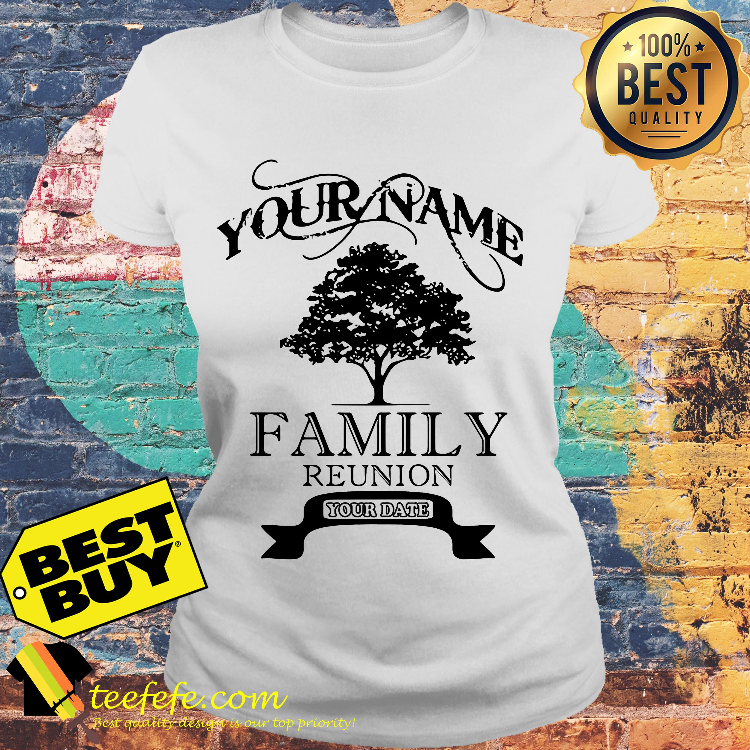 Your name family reunion old tree ladies tee