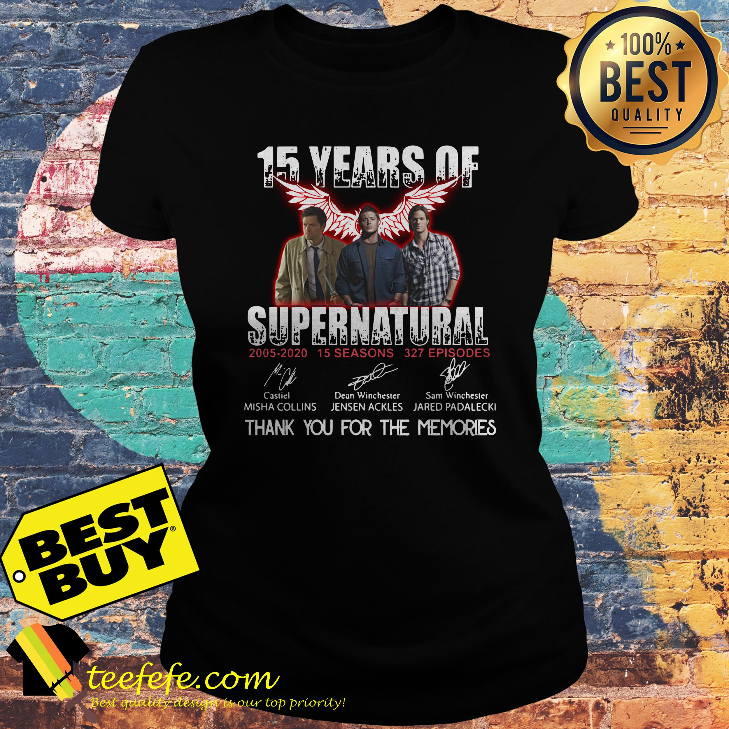 15 Years of Supernatural all signature thank you for the memories ladies tee