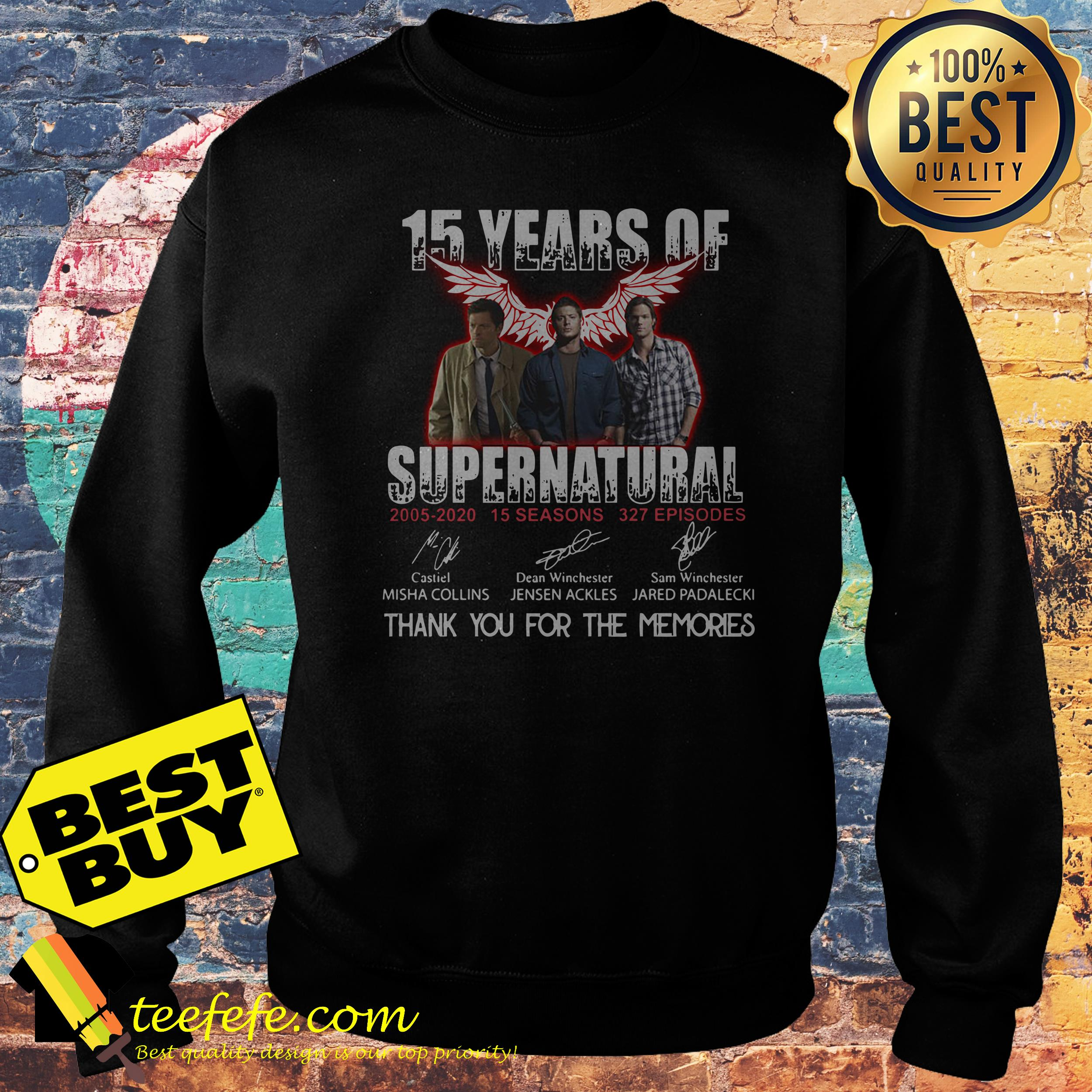 15 Years of Supernatural all signature thank you for the memories sweatshirt