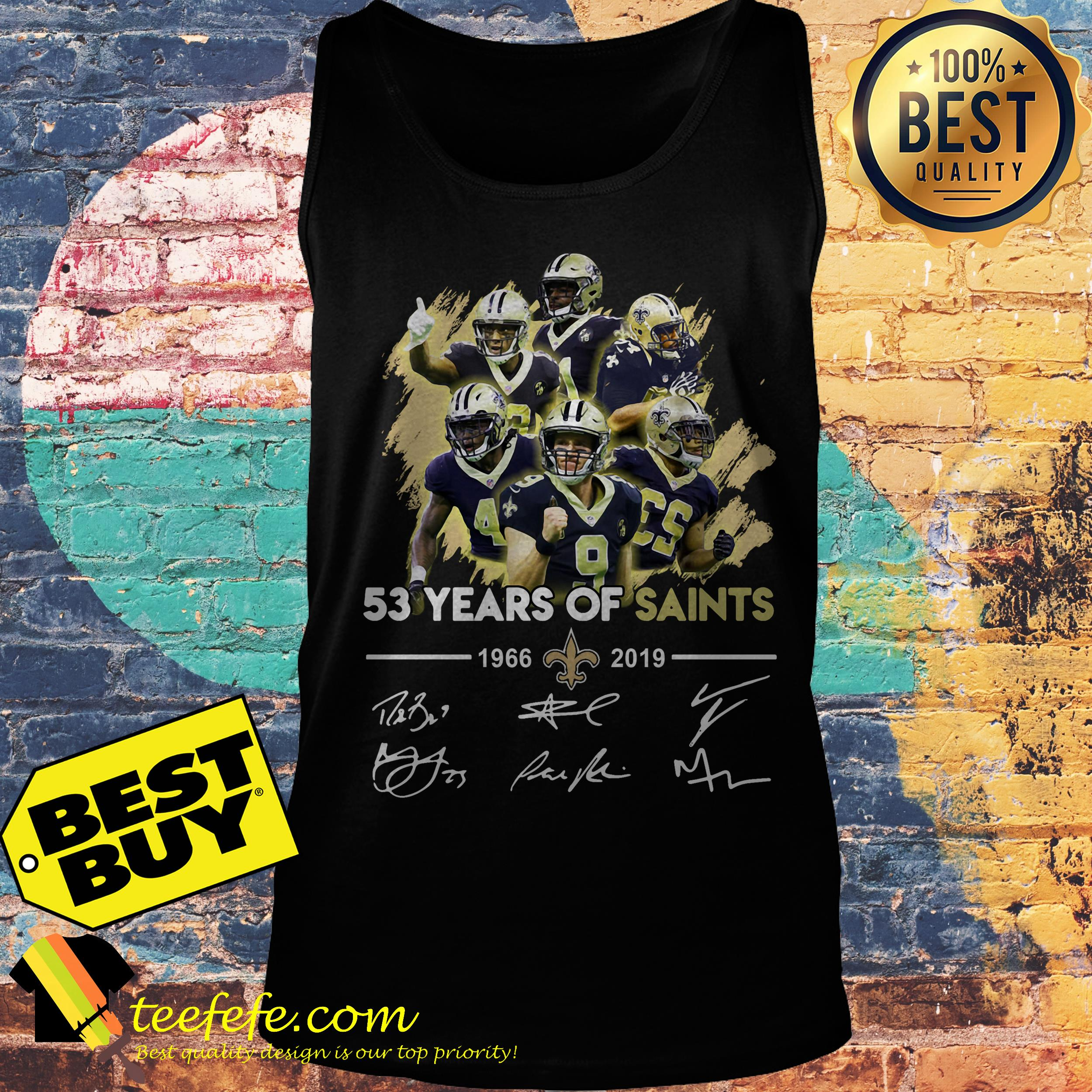 huge selection of d3a32 e8141 53 years of New Orleans Saints 1966-2019 signatures shirt