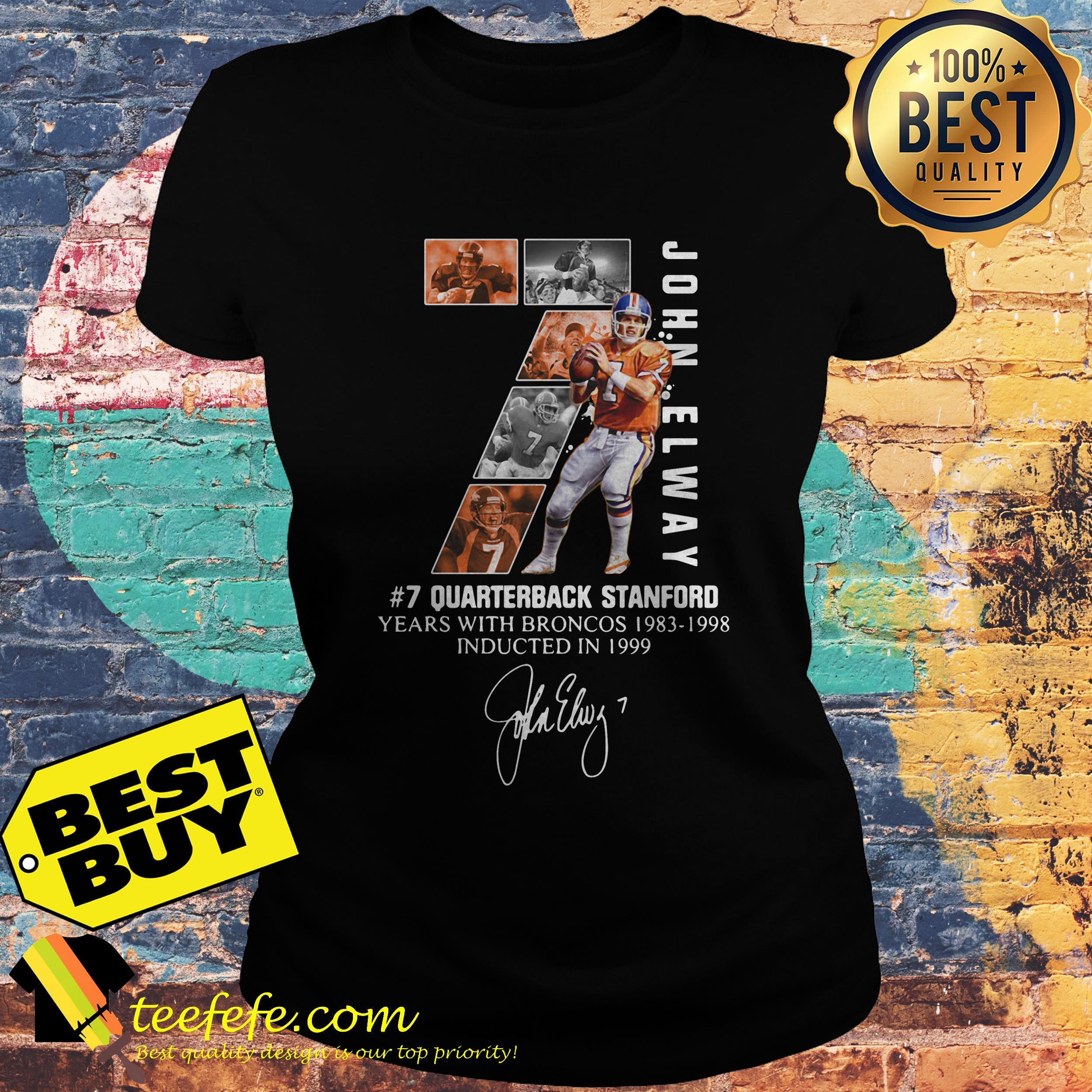 sale retailer 4e92d ada5c John Elway 7 quarterback stanford years with Broncos 1983-1998 signature  shirt