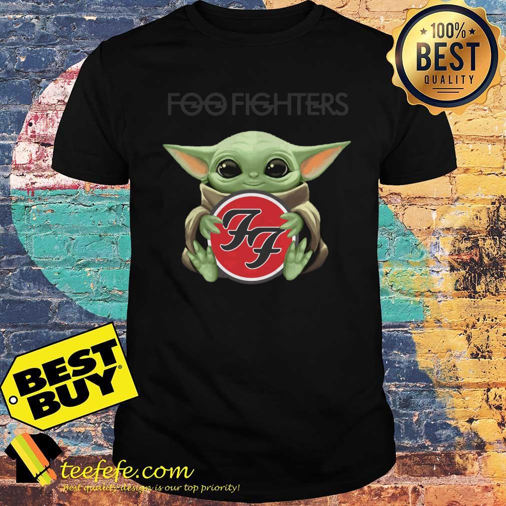 Baby Yoda hug Foo Fighters shirt