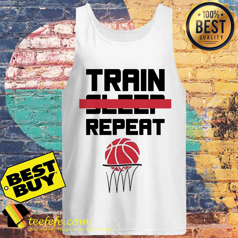 Train sleep repeat basketball tank top