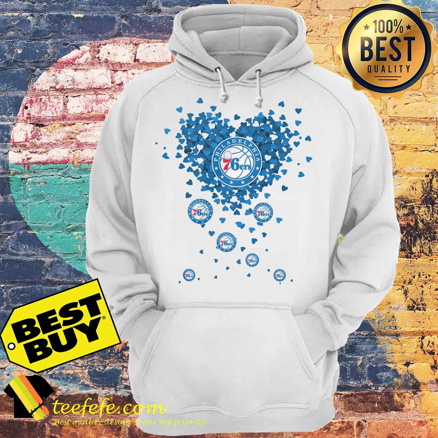 Valentine's Day NBA Philadelphia 76ers Basketball Logo Heart hoodie