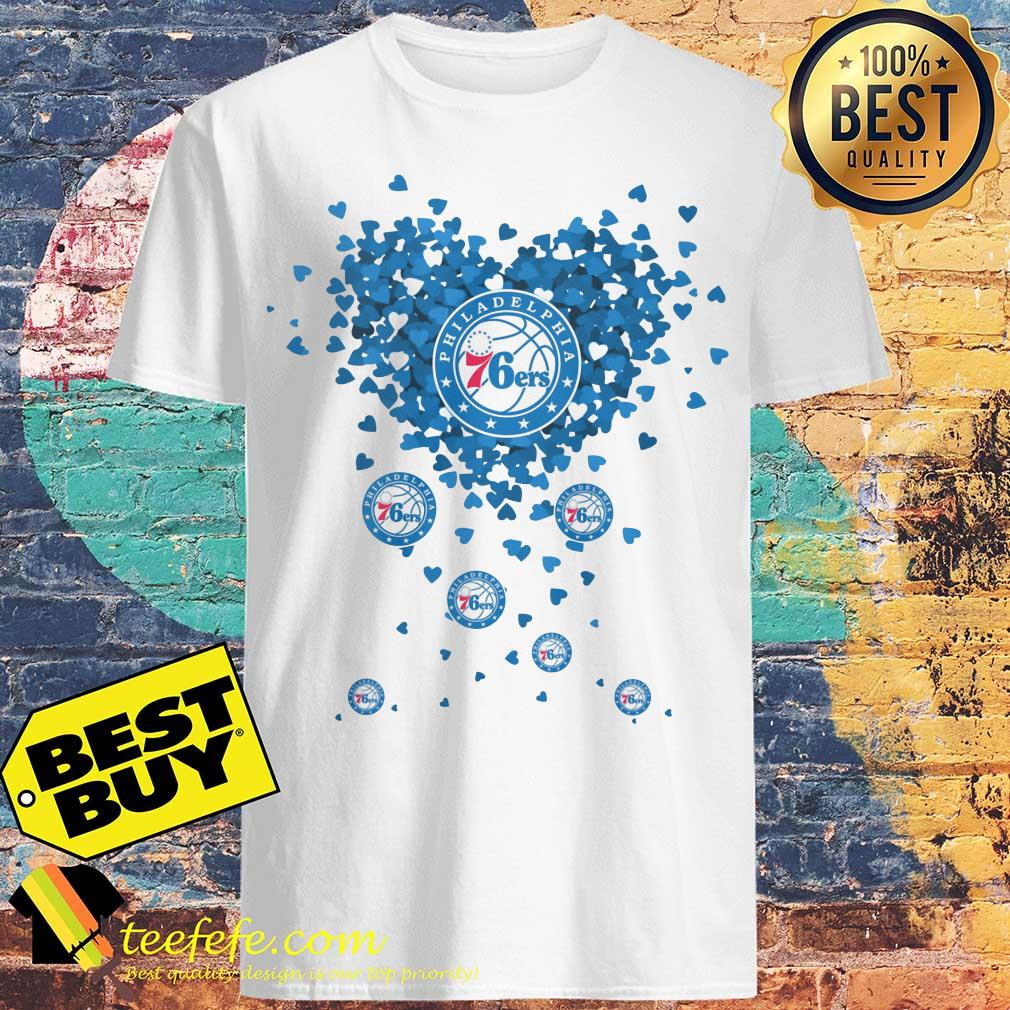 Valentine's Day NBA Philadelphia 76ers Basketball Logo Heart shirt