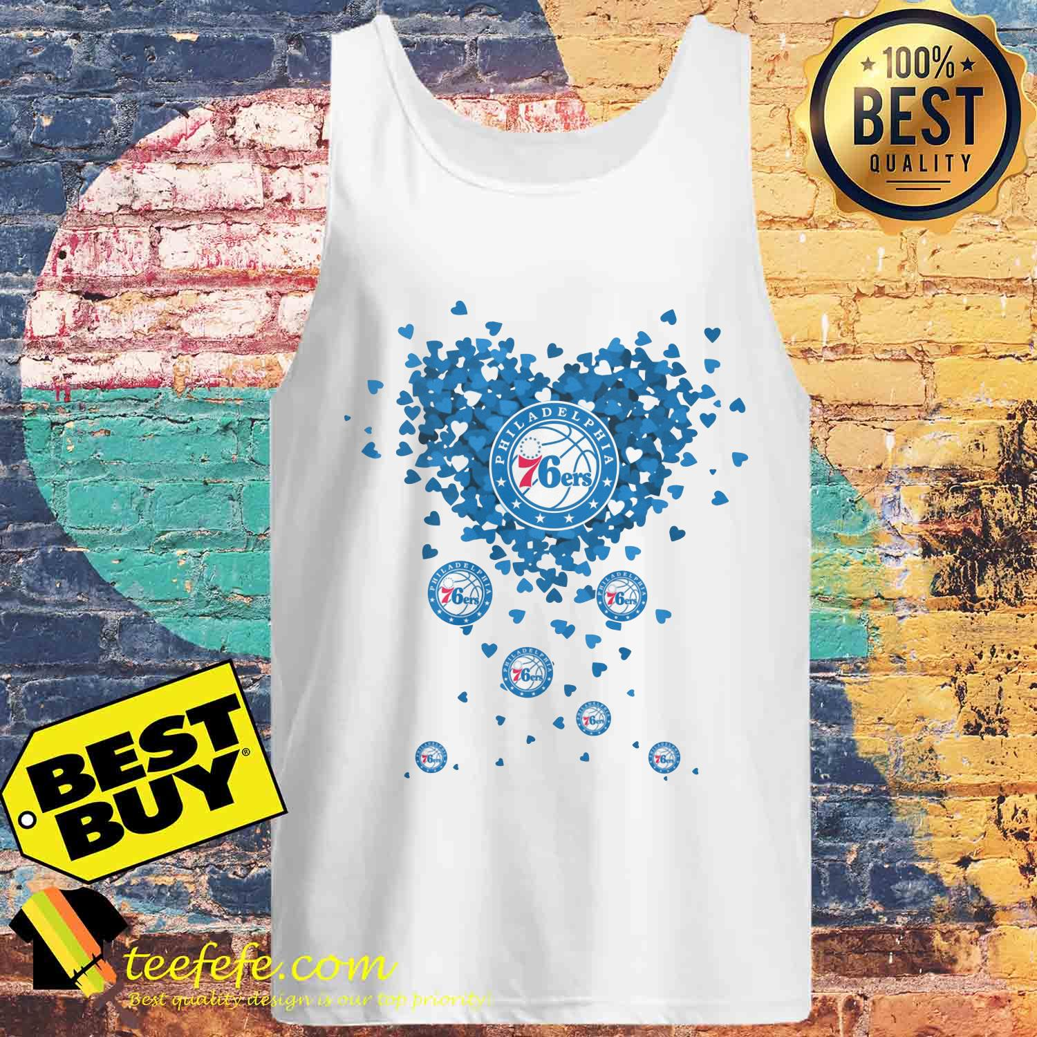 Valentine's Day NBA Philadelphia 76ers Basketball Logo Heart tank top