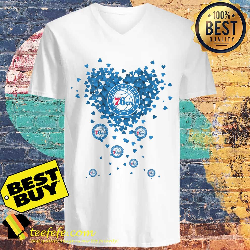 Valentine's Day NBA Philadelphia 76ers Basketball Logo Heart v neck