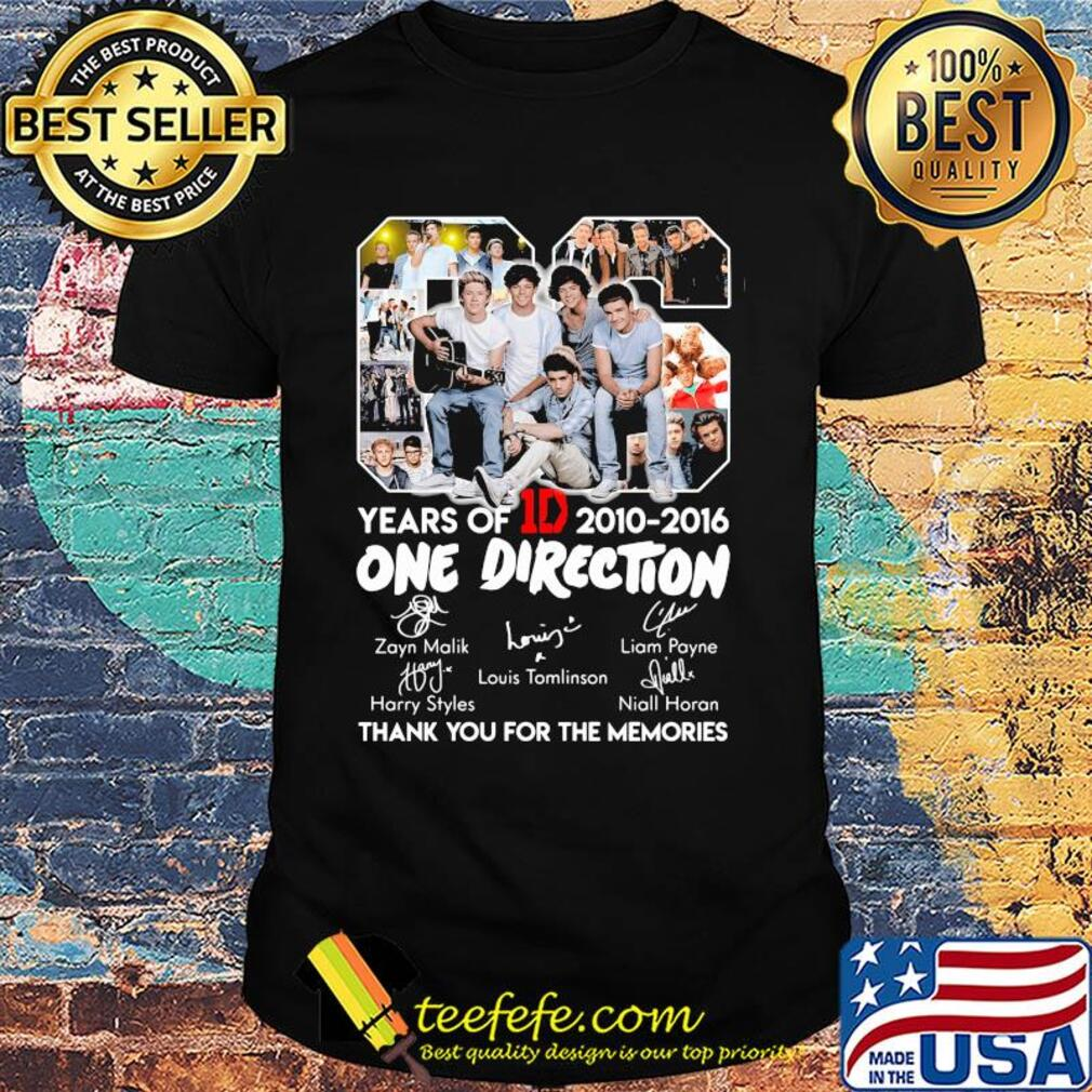 06 years of 1d 2010-2016 one direction signatures thank you for the memories shirt