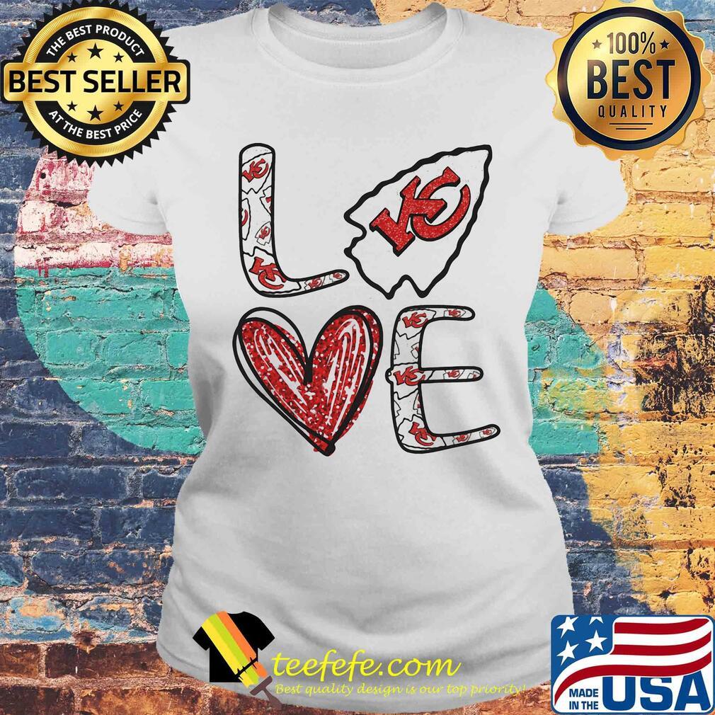 Love Kansas City Chiefs Football Logo Heart s Laides tee