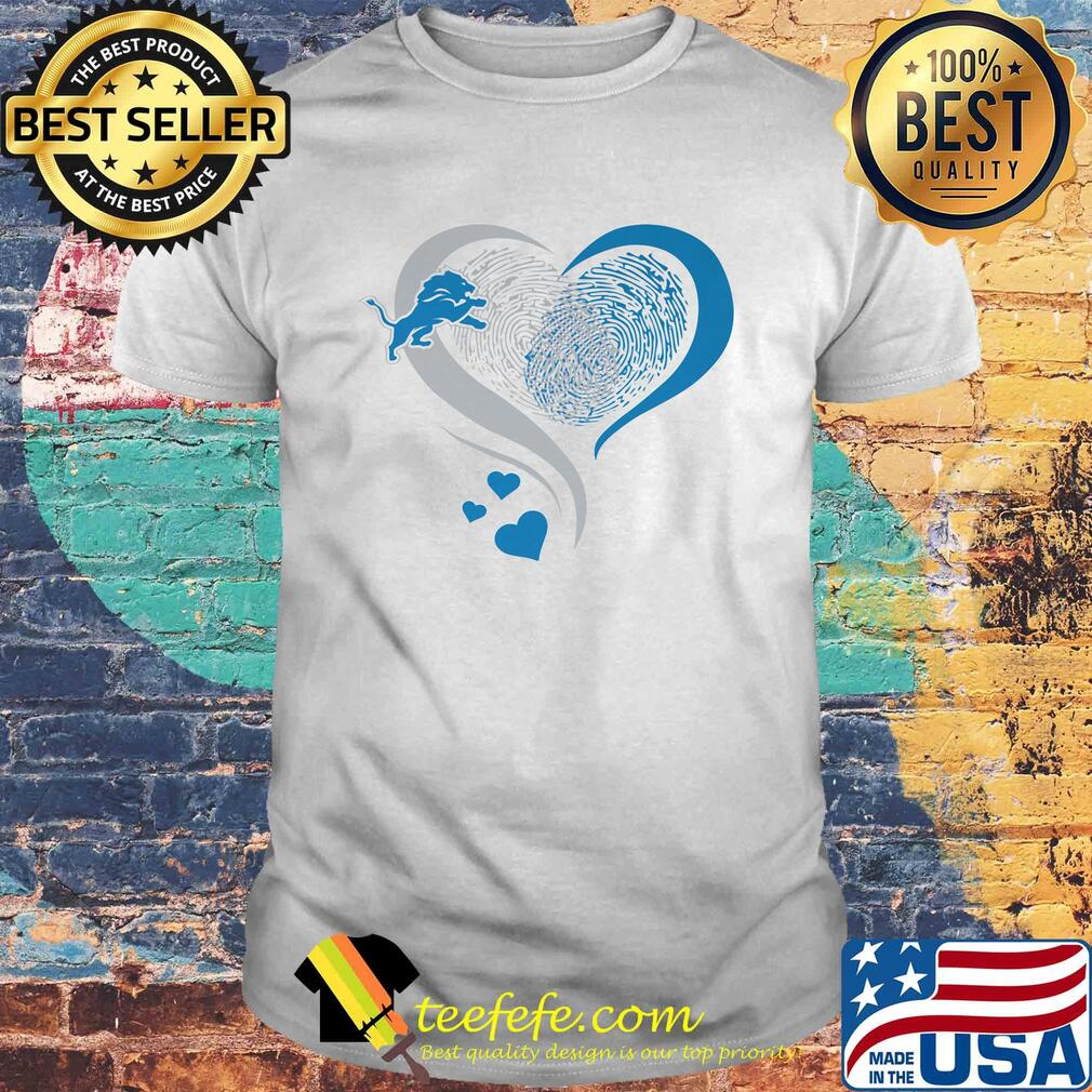 Love Detroit Lions Hearts Fingerprints shirt