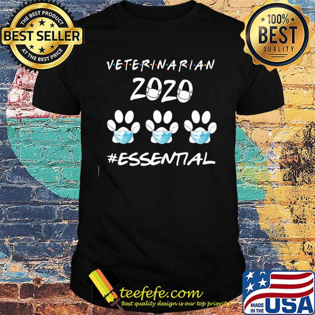 Veterinarian 2020 mask essential paw dog shirt