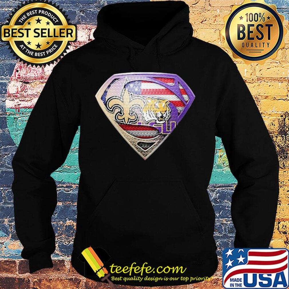 Superman new orleans saints and lsu tigers american flag independence day s Hoodie