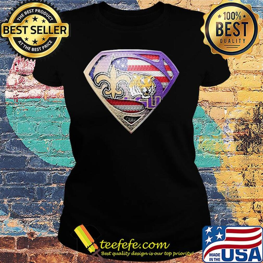 Superman new orleans saints and lsu tigers american flag independence day s Ladies tee