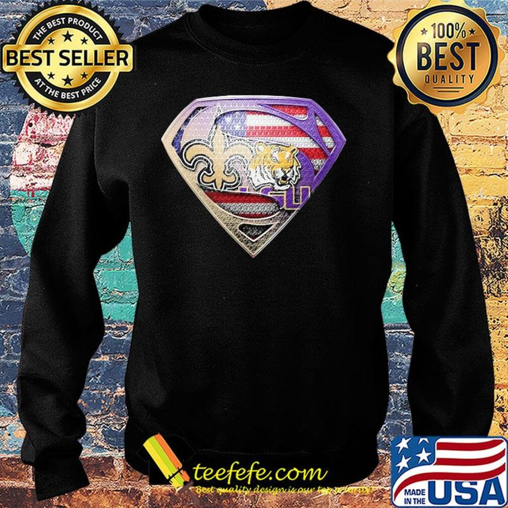 Superman new orleans saints and lsu tigers american flag independence day s Sweater