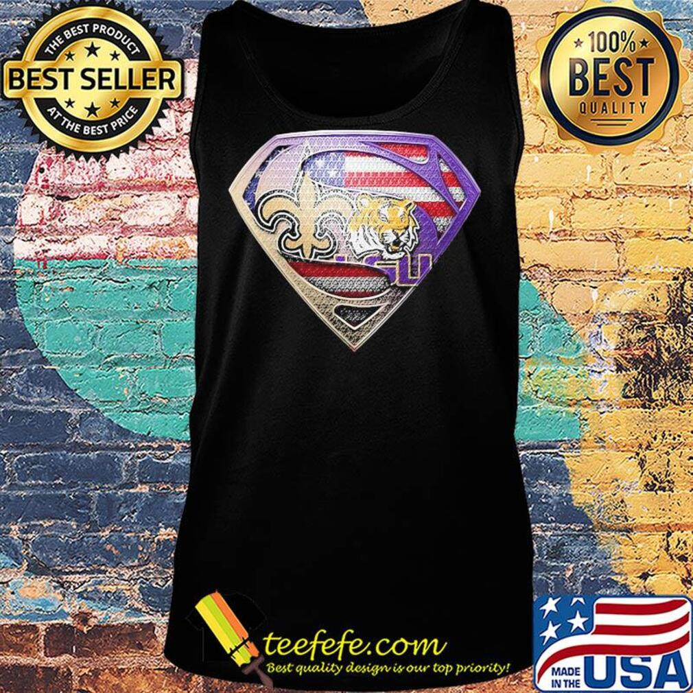 Superman new orleans saints and lsu tigers american flag independence day s Tank top