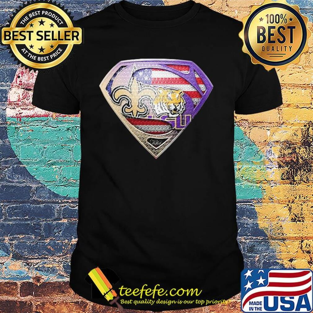 Superman new orleans saints and lsu tigers american flag independence day shirt