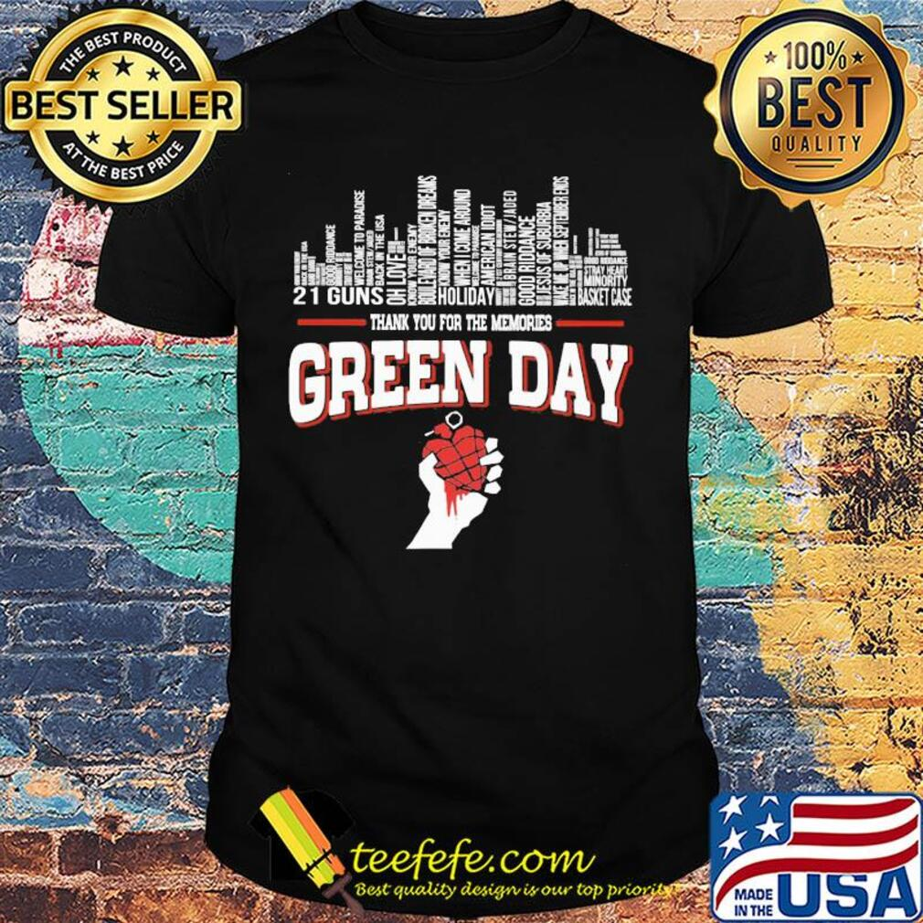 Thank you for the memories green day shirt