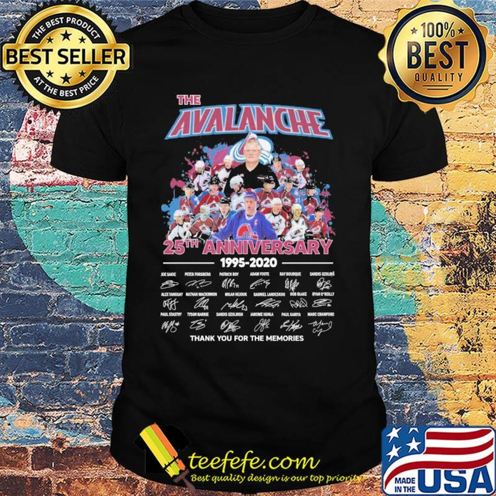 The colorado avalanche 25th anniversary 1995 2020 thank you for the memories signatures shirt
