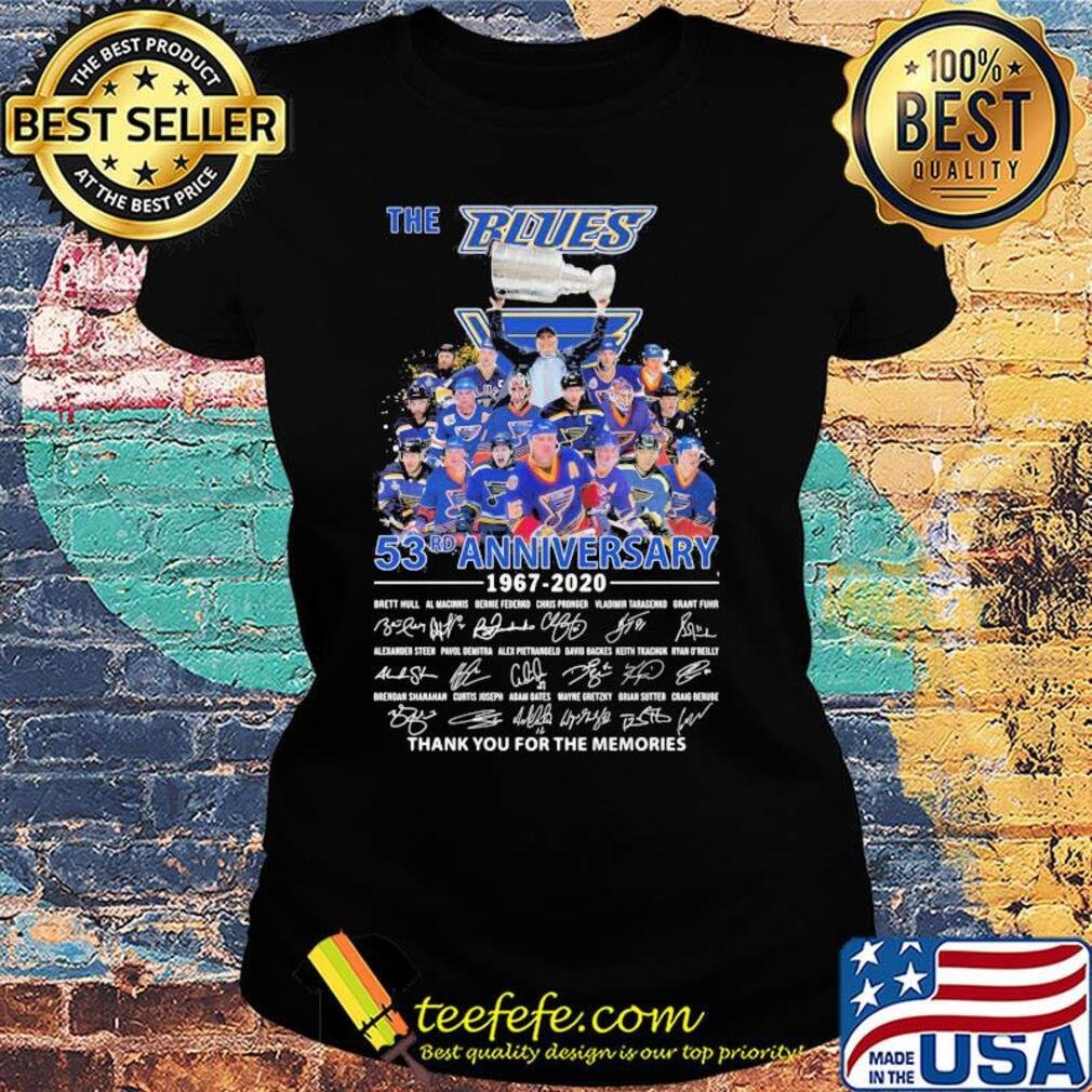 The st. Louis blues 53rd anniversary 1967 2020 thank you for the memories signatures s Ladies tee