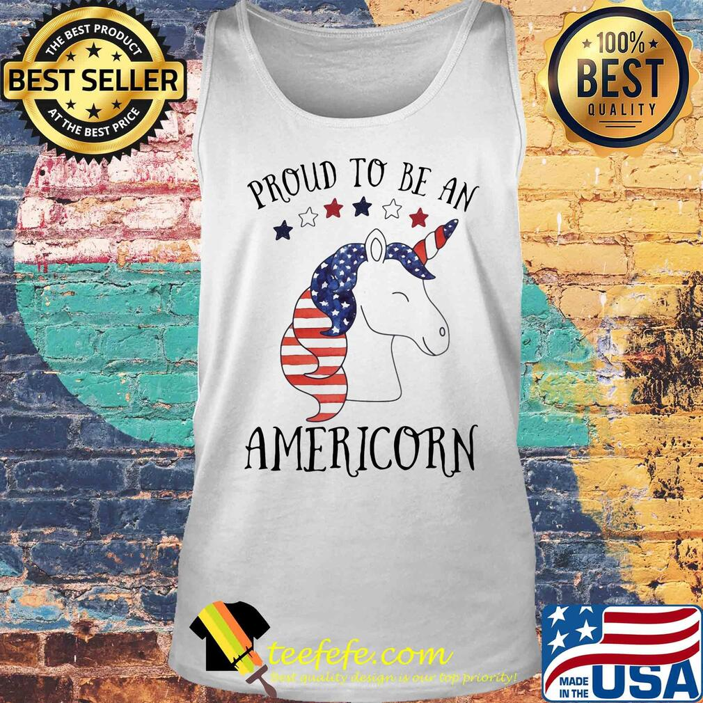 Unicorn proud to be an americorn american flag independence day s Tank top