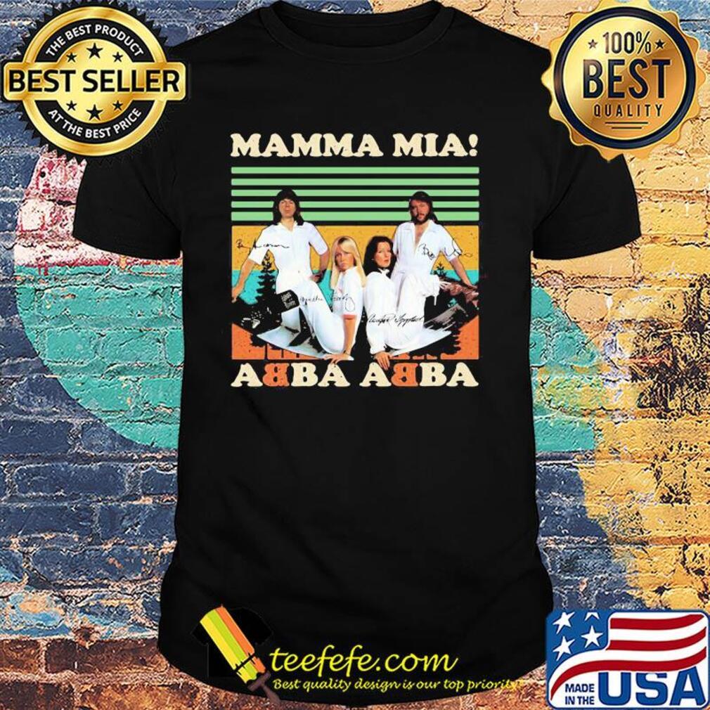 Mamma mia abba abba signatures vintage shirt