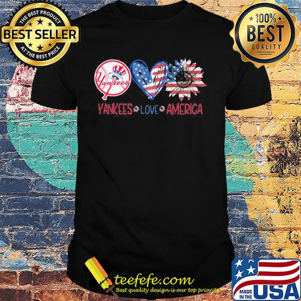 New york yankees love american flag independence day sunflower heart shirt