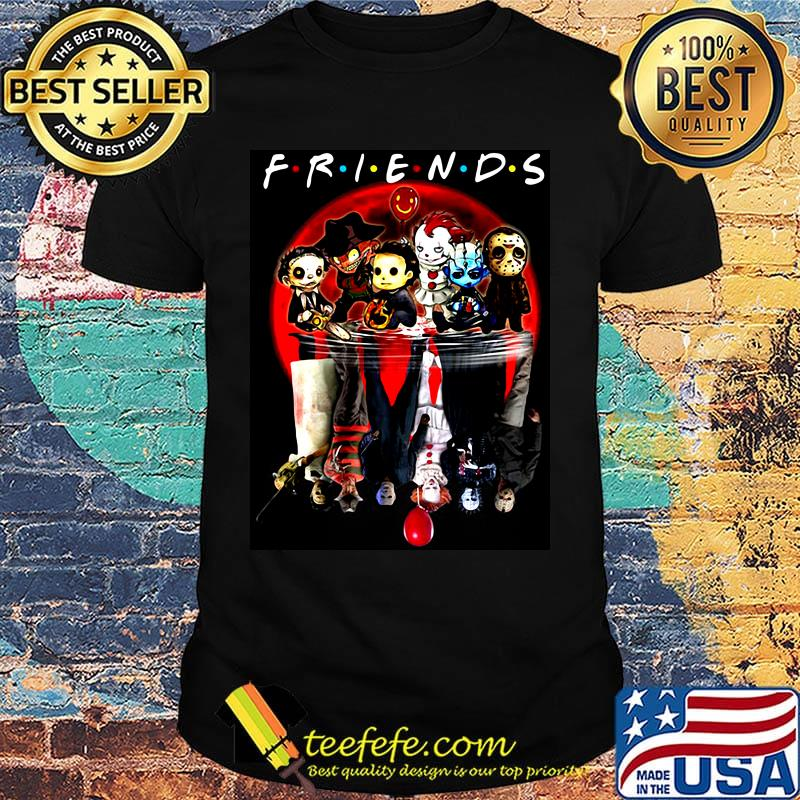 Friends halloween horror characters water reflection shirt