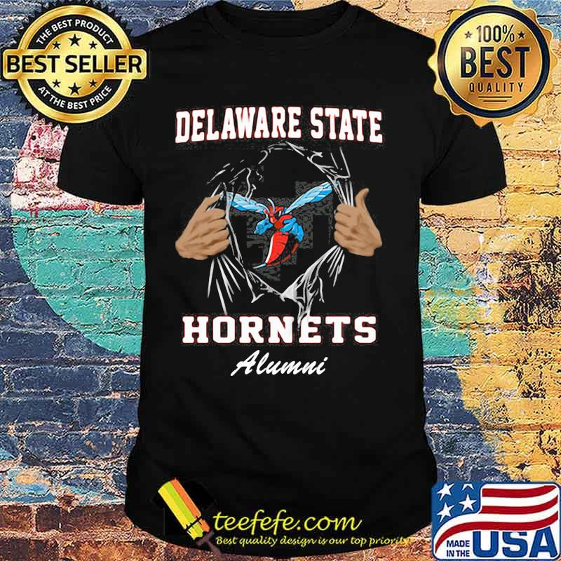 Blood inside delaware state hornets alumni shirt