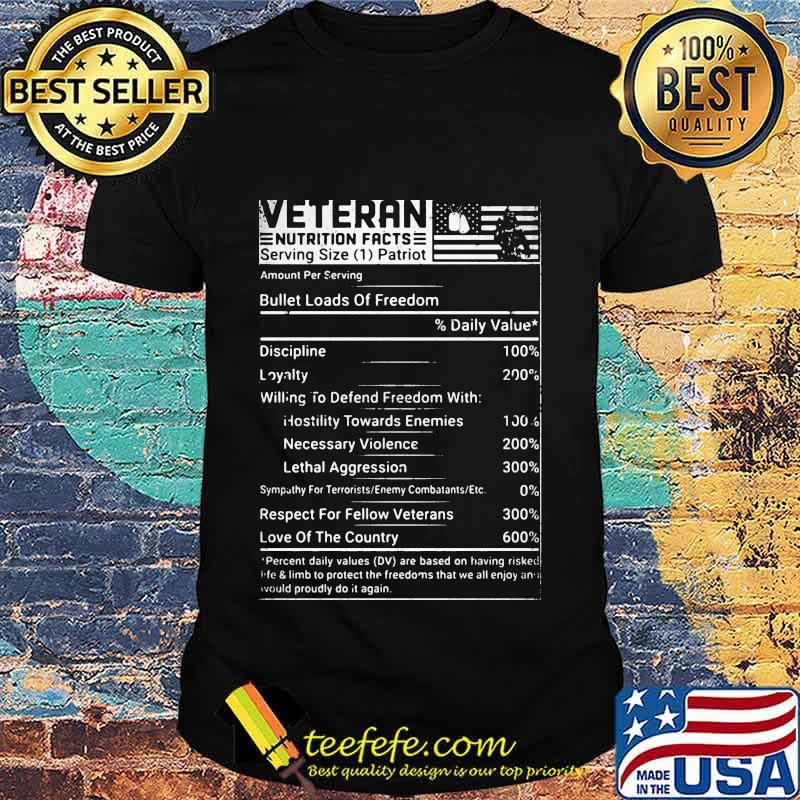 Veteran Nutrition Facts American Flag Independence Day Shirt