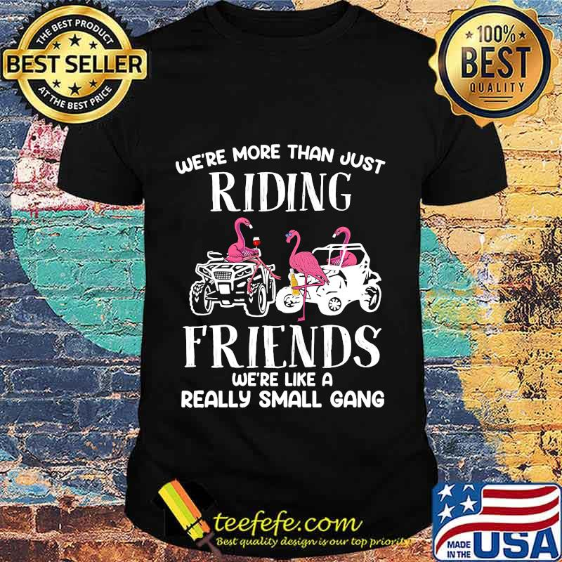 WE'RE MORE THAN JUST RIDING FRIENDS WE'RE LIKE A REALLY SMALL GANG ATV FLAMINGOS SHIRT