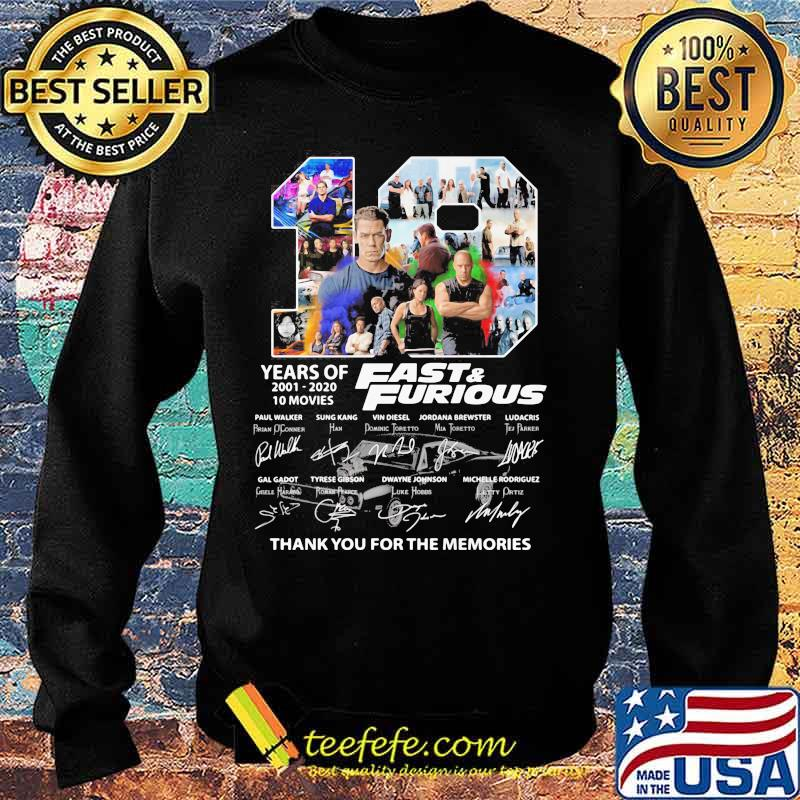 19 years of 2001-2020 Fast and Furious 10 movies signature s Sweater