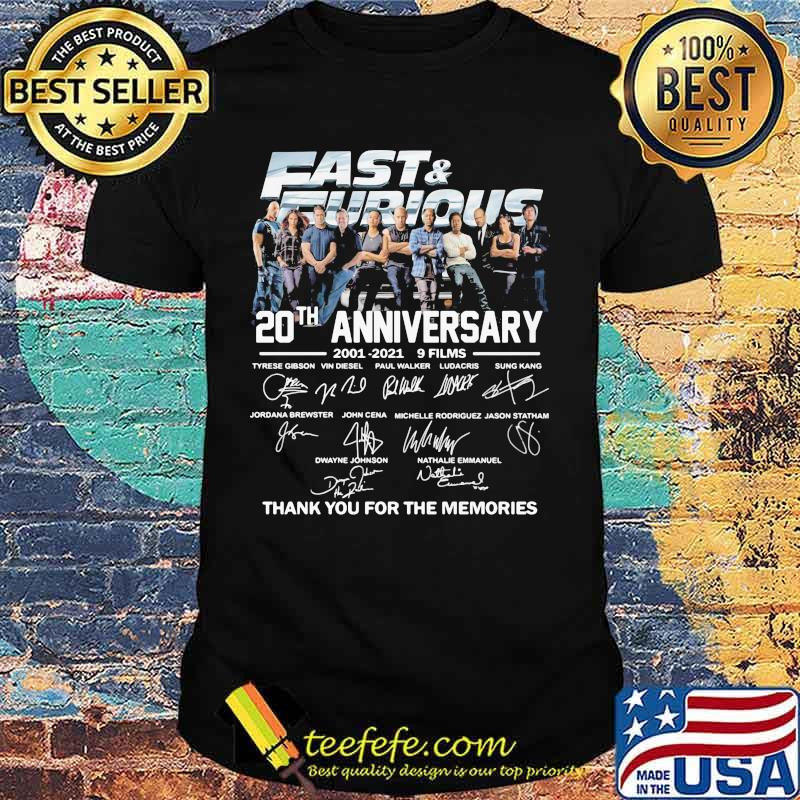 Fast and furious 20th anniversary 2001 2021 9 films thank for the memories signatures shirt