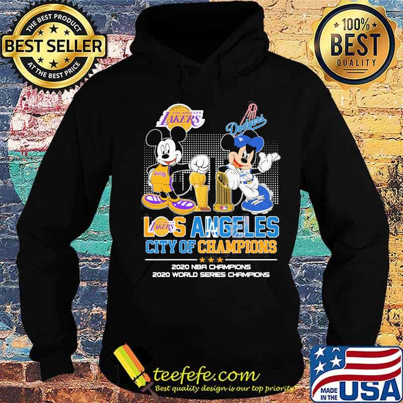 Los Angeles City Of Champions 2020 Nba World Series Mickey Dodgers Shirt Hoodie