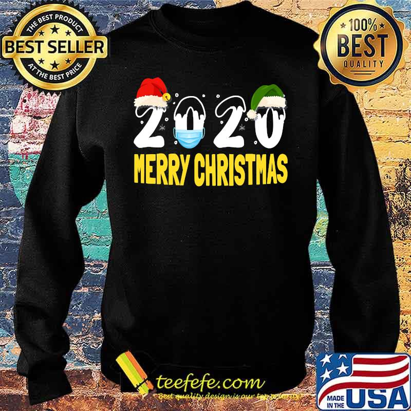 Merry Christmas 2020 Quarantine Christmas Santa Face Mask Shirt Sweater