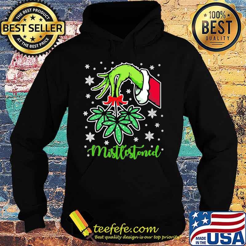 Merry christmas grinch holding mistlestoned weed s Hoodie