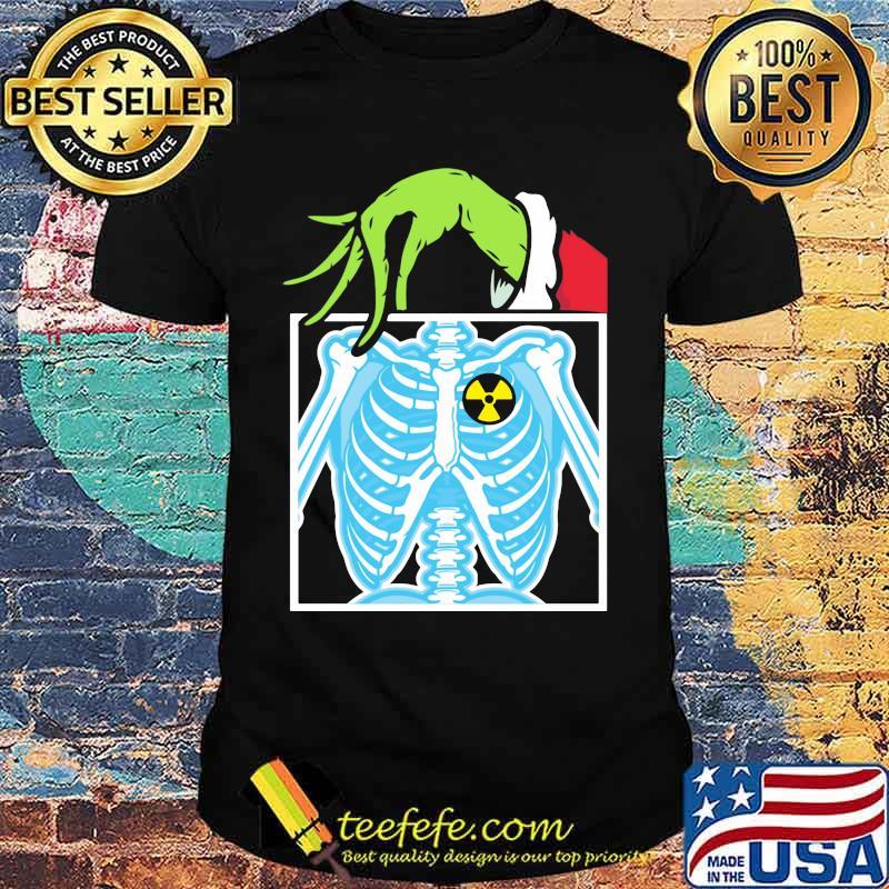 Merry christmas grinch holding skeleton shirt