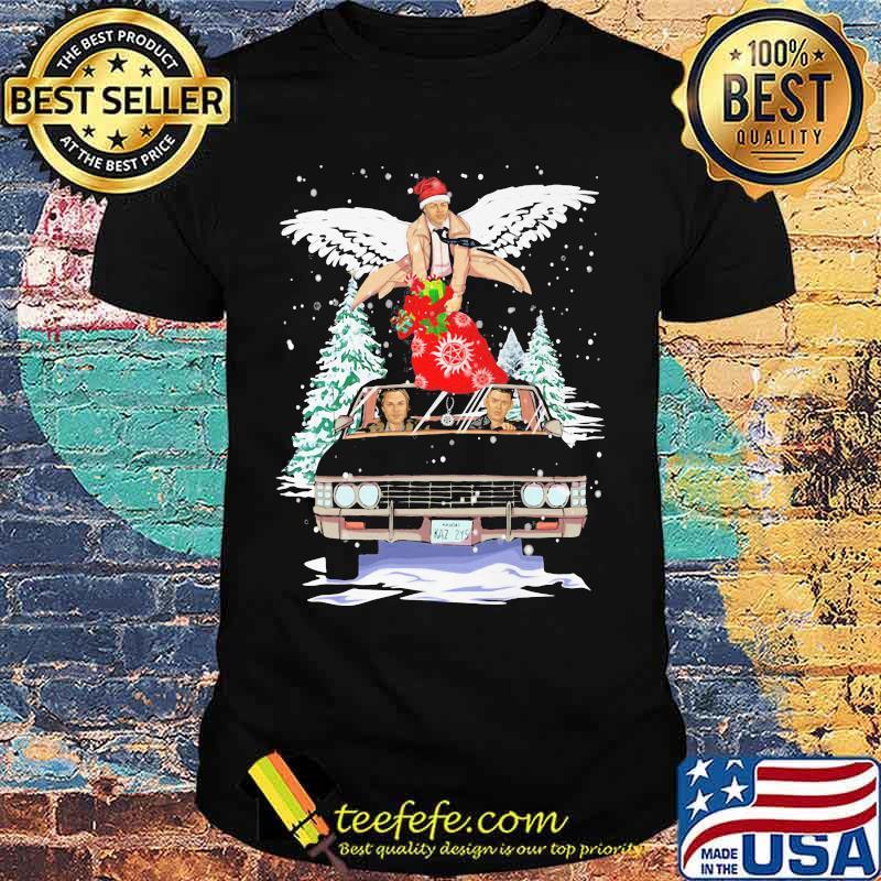 Merry christmas supernatural wings car shirt