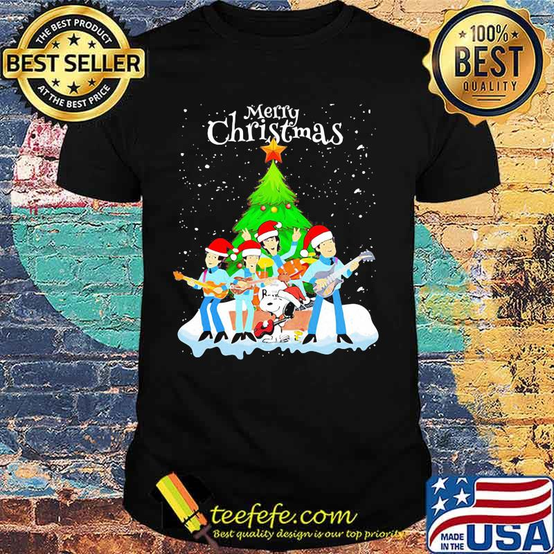 Merry christmas the peanuts band and snoopy shirt