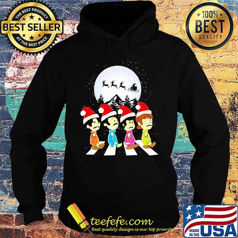 Merry christmas the peanuts band chibi abbey road s Hoodie