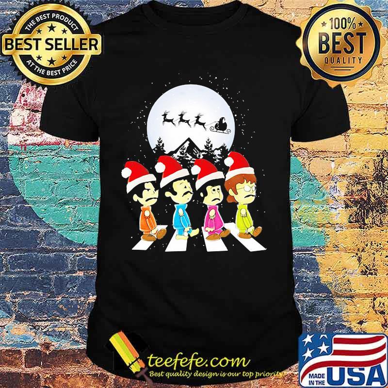 Merry christmas the peanuts band chibi abbey road shirt
