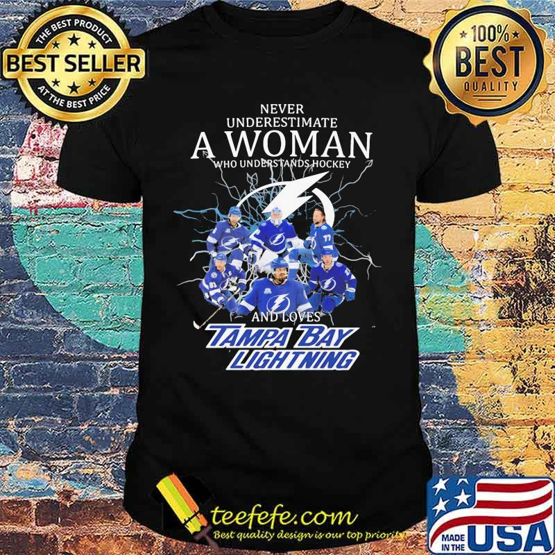 Never underestimate a woman who understands hockey and loves tampa bay lightning shirt