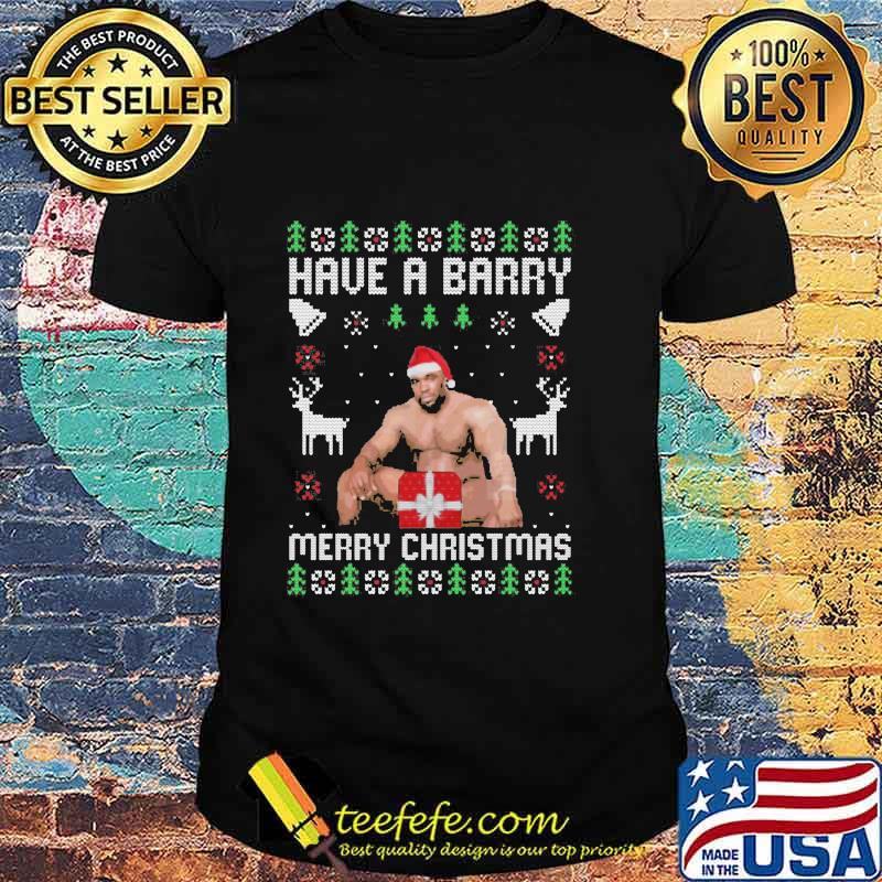Official Have A Barry Merry Christmas Funny Barry Wood Meme Ugly Christmas Shirt